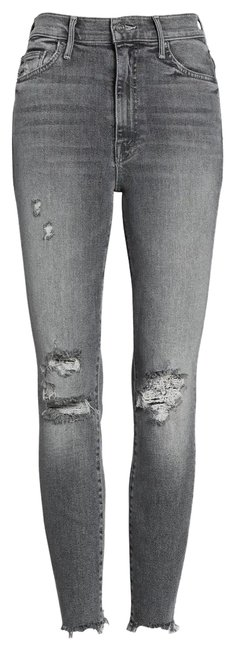 Item - Gray Distressed The Swooner Ankle Chew Skinny Jeans Size 00 (XXS, 24)