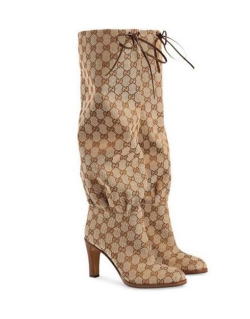 Item - Beige Gg Monogram Supreme Coated Canvas Leather Knee Boots/Booties Size EU 39 (Approx. US 9) Regular (M, B)