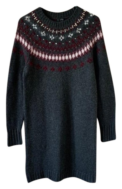 Item - Gray Maroon White Red Jewel Embellished Fair Isle Sweater Small Short Casual Dress Size 6 (S)