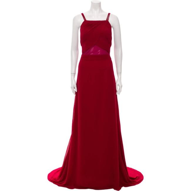 Item - Red Wine Dark Square Neckline Modern Bridesmaid/Mob Dress Size 12 (L)
