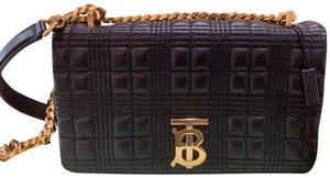Item - Small Quilted Tb Monogram Black with Gold Chain Leather Cross Body Bag