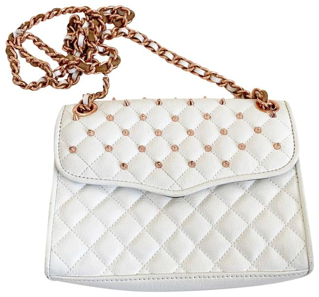 Item - Mini Quilted Affair Rose Gold Studded White Leather Cross Body Bag