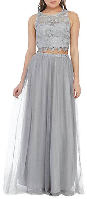 Item - Gray Piece Lace and Mesh Gown Long Formal Dress Size 2 (XS)