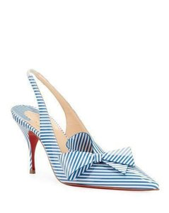 Item - Blue/White Clare Nodo 80 Striped Bow Slingback Heels Sandals