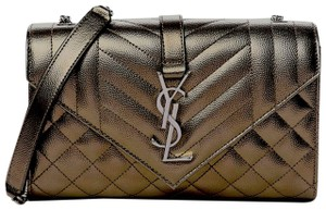 Item - Monogram Envelope New Tri-quilted Small Metallic De Poudre Grey Leather Cross Body Bag