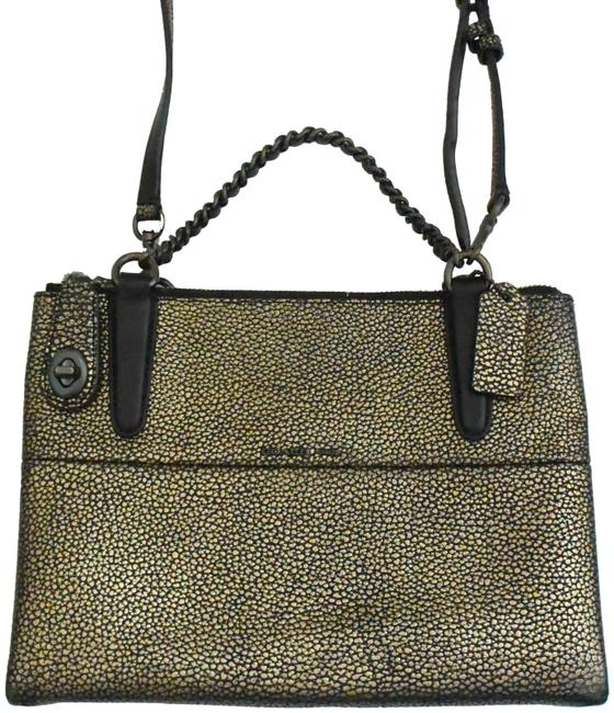 Item - Carry All Borough Mini Turnlock Gold Leather Tote