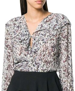Item - White with Purple Multi Color Floral Design Voodoo Blouse