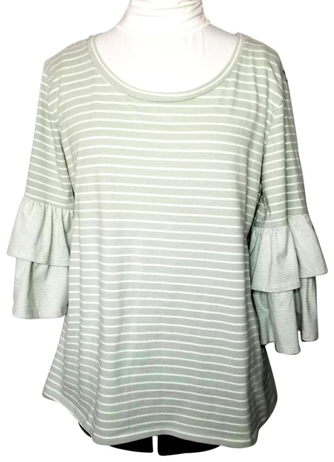 Item - Green Striped Ruffled Sleeve Scoop Neck Blouse Size 6 (S)