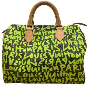 Item - Graffiti Speedy 30 Neon Green Monogram Canvas Satchel