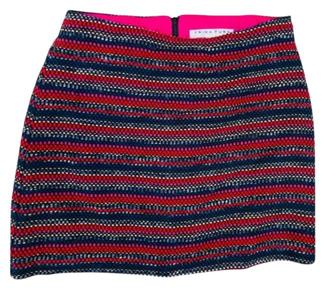 Item - Black Red Rico Wool Blend Gold Striped Pink Skirt Size 0 (XS, 25)
