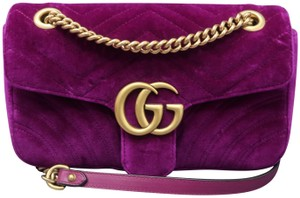 Item - Marmont Small Gg Purple Velvet Shoulder Bag