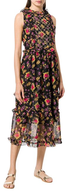 Item - Black Simmone Floral Mid-length Casual Maxi Dress Size 8 (M)