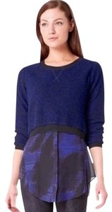 Elie Tahari Blue Black Boucle Sweater