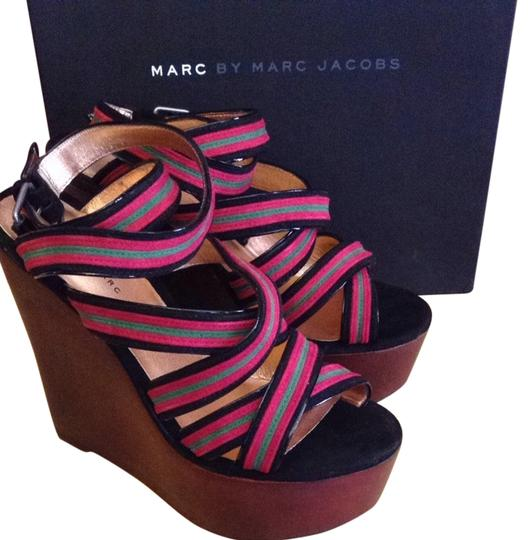 Marc by Marc Jacobs Suede Leather Black Berry Green Wedges