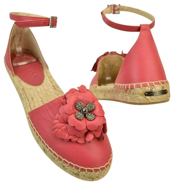 Item - Pink Dylan Dahlia Leather Jeweled Floral Applique Espadrilles Flats Size EU 37 (Approx. US 7) Regular (M, B)