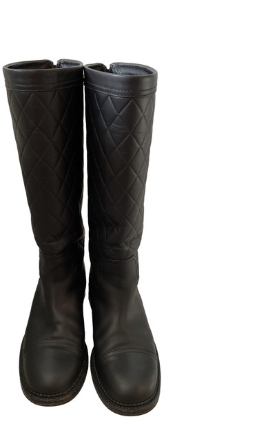 Item - Black Leather Knee High Quilted Biker Riding Boots/Booties Size EU 38.5 (Approx. US 8.5) Regular (M, B)