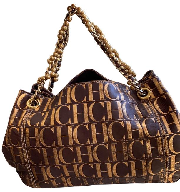 Item - Pearl Strap Bronze and Brown Leather Satchel
