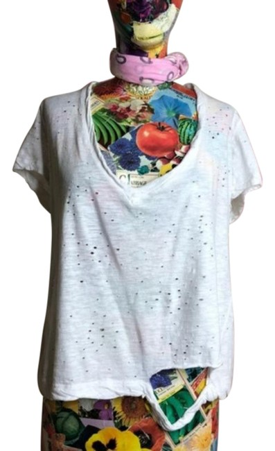 Item - White Distressed Ripped Shredded Holes Tee Shirt Size 4 (S)