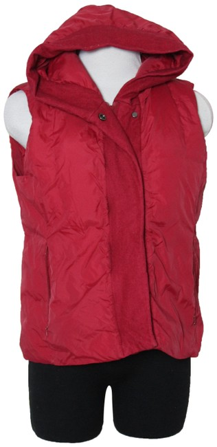 Item - Red Down Filled Hoodie Vest Size Petite 4 (S)