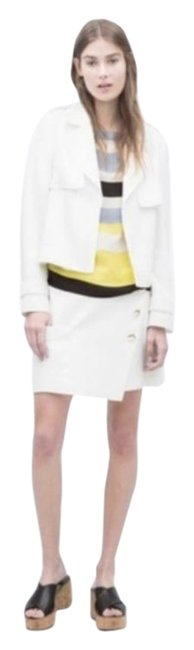 Item - White Short Trench Layer Cuffed Back Flap Jacket Size 4 (S)