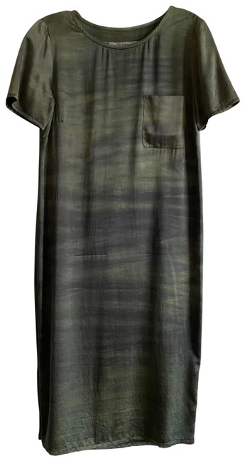 Item - Green / Olive and Black Mid-length Short Casual Dress Size 6 (S)