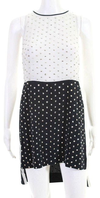 Item - Black & White Abrielle Crystal Studded Silk Short Cocktail Dress Size 2 (XS)