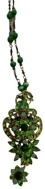 Item - Green Rhinestoned Flower Pendant/Necklace Necklace