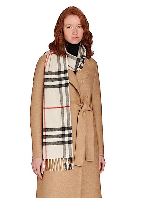 Item - Stone with Tag Classic Check Cashmere Scarf/Wrap