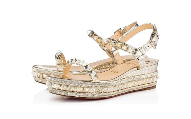 Item - Gold Pyraclou Cocco Metallic Platine Wedge Sandal Flats Size EU 40 (Approx. US 10) Regular (M, B)