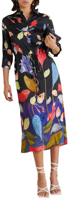 Item - Multiple Floral Print Shirt Midi Mid-length Night Out Dress Size 6 (S)
