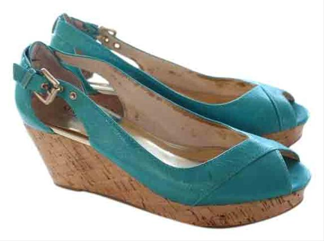 Item - Aqua Blue Peep Wedges Size US 8 Regular (M, B)