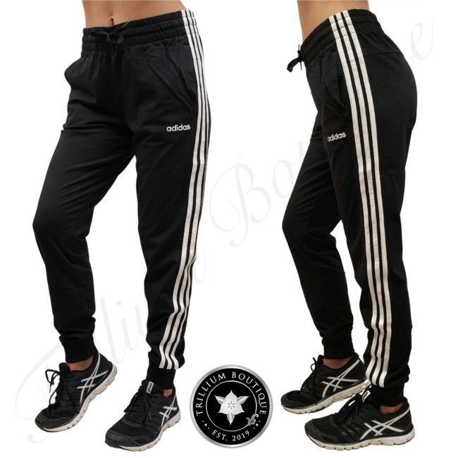 Item - Black/White Women's 3 Striped French Terry Joggers New with Tags Activewear Bottoms Size 12 (L, 32, 33)