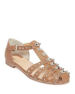 Item - Beige Loubiclou Spiked Studded Leather Caged Fisherman Flat Sandals