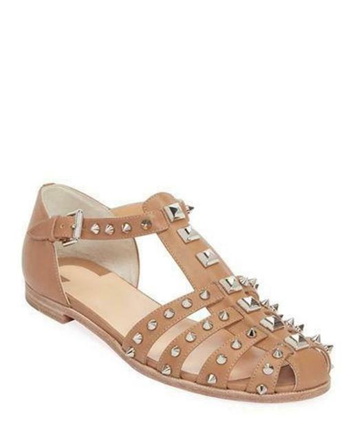 Item - Beige Loubiclou Spiked Studded Leather Caged Fisherman Flat Sandals Size EU 39.5 (Approx. US 9.5) Regular (M, B)