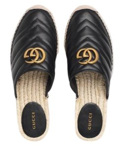 Item - Marmont Double G Leather Espadrille Slide Sandals