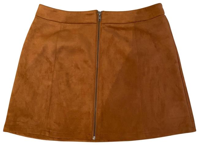 Item - Camel Faux Suede with Zipper Front Skirt Size 12 (L, 32, 33)