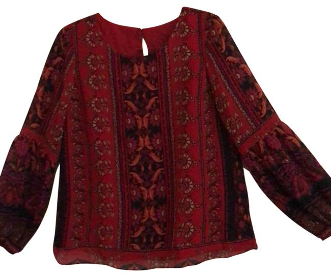 Item - Red with Black Tan Orange Brown Purple Style # Xt81pevr9 Blouse Size 6 (S)