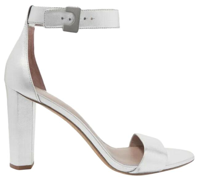 Item - Silver Chainlink Ankle Strap Metallic Leather Sandals Size US 10 Regular (M, B)