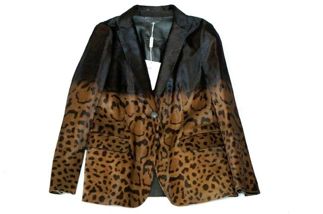 Item - Black/Brown Calf Hair Leather Leopard Print Jacket Blazer Size 6 (S)