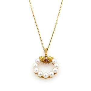 Item - 17104 S - Akoya Pearls & Ruby Wreath 18k Yellow Gold Pendant Necklace