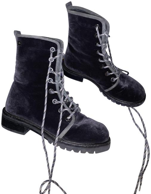 Item - Blue Velvet Combat Boots/Booties Size US 5.5 Regular (M, B)