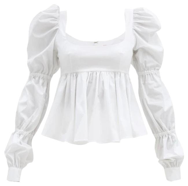 Item - White Roero Puff Sleeved Cotton Blend Blouse Size 4 (S)