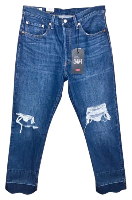 Item - Blue Distressed 501 High Rise Straight Released Hem Capri/Cropped Jeans Size 31 (6, M)