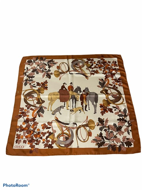 Item - Brown and Gold Vintage Silk Scarf/Wrap