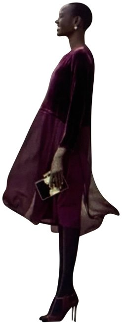 Item - Maroon Ballet Neck Duster Mid-length Cocktail Dress Size 8 (M)