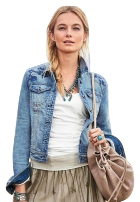 Item - Blue Western Chic Embroidered Jacket Size 12 (L)