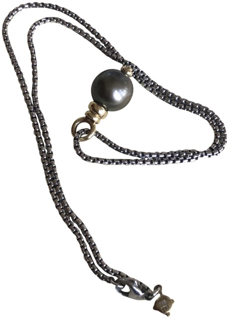 "Item - Sterling Silver Box Tahitian Pearl Pendant with Baby Chain 16"" Necklace"