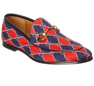 Item - Red Horsebit Rombus Print Loafer Flats