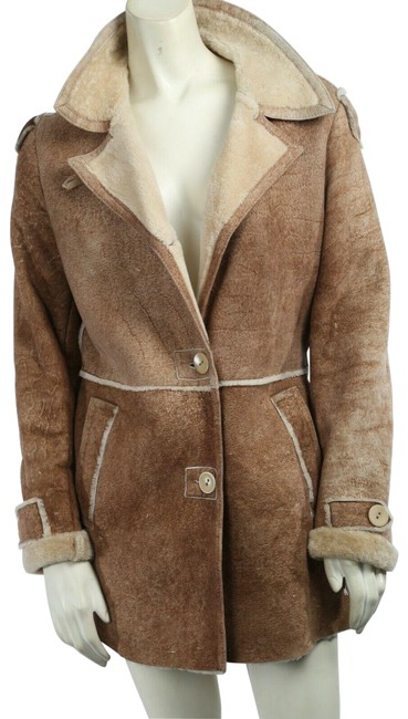 Item - Brown Beige Raw Edge Sheepskin Shearling Coat Size 6 (S)