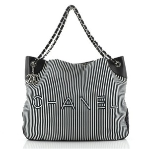 Item - Logo Striped Large Black Canvas (Plain) Tote